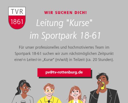 """Gesucht: Leitung """"Kurse"""" im Sportpark 18-61"""
